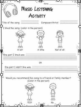music listening activity worksheet activities teaching resources and listening activities. Black Bedroom Furniture Sets. Home Design Ideas