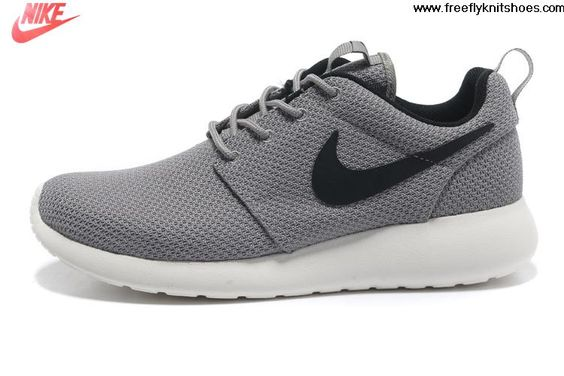 2013 Mens Nike Roshe Run Gray Black Shoes For Sale