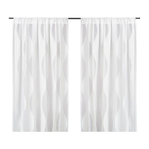 murruta lace curtains 1 pair white tringles rideaux. Black Bedroom Furniture Sets. Home Design Ideas