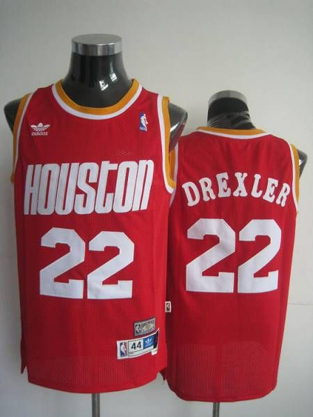 468bda90523 Mitchell and Ness Rockets  22 Clyde Drexler Stitched Red Throwback NBA  Jersey