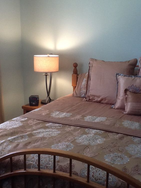 Master Bedroom Updates Include New Paint Color Valspar Sparkling Sage New Bedding And Lamps
