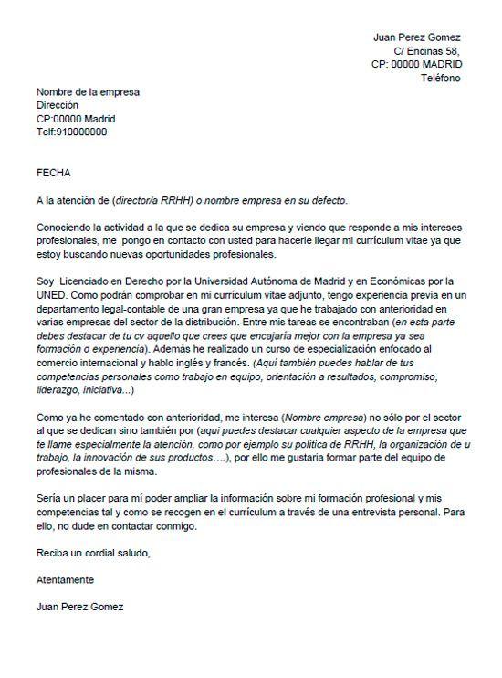 Carta De Presentacion Para Una Autocandidatura In 2021
