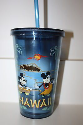 EXCLUSIVE HAWAII Disney Mickey & Minnie Hula Sunset Acrylic Tumbler - NEW