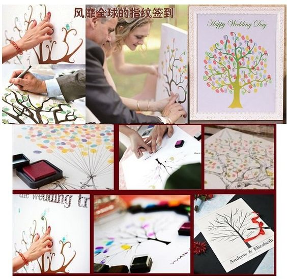Free Shipping Wedding Fingerprint Tree Fingerprint Painting Wedding Sign in Figure with 5pcs inkpad $19.99