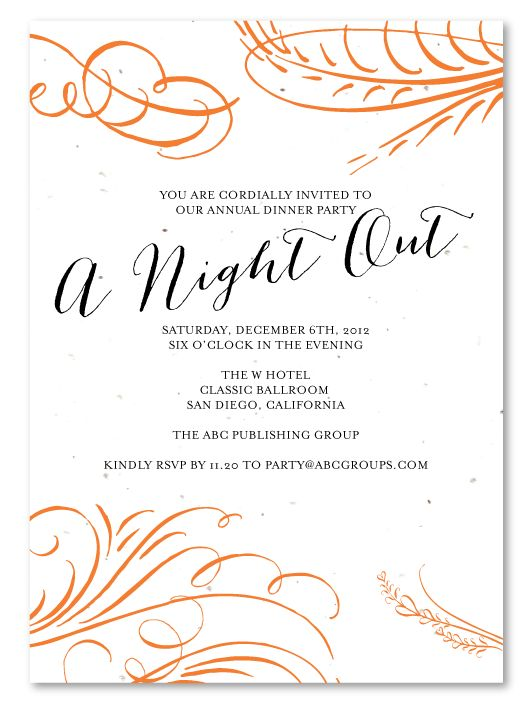 Corporate Holiday Party Invitations ~ A Night Out *plantable - business event invitation letter