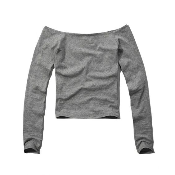 Abercrombie & Fitch Off The Shoulder Slim Crop Top (€7,66) ❤ liked on Polyvore featuring tops, shirts, blusas, abercrombie, crop top, grey, long sleeve tops, grey long sleeve shirt, slim fit shirt and cotton crop top