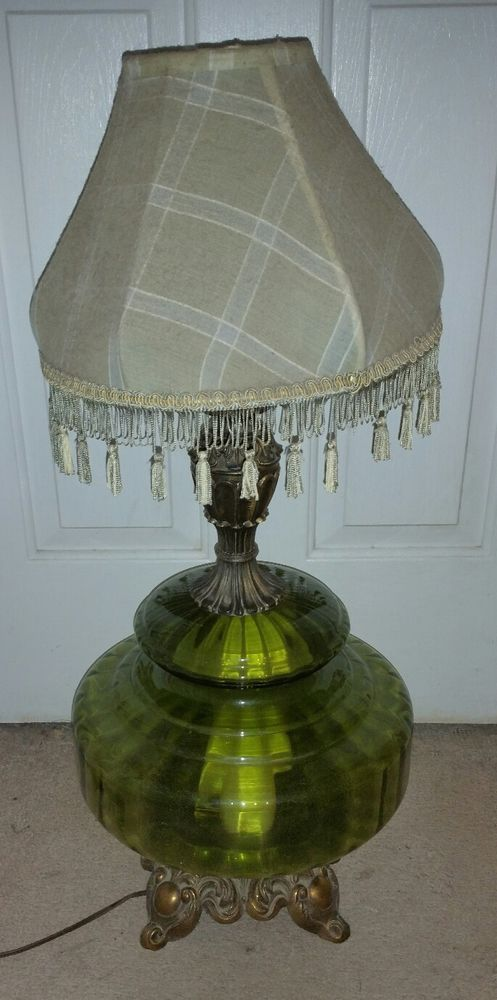 Vintage Mid Century Falkenstein Model 7315 Table Lamp Green Color Glass Vintage Green Glass Lamp Mid Century