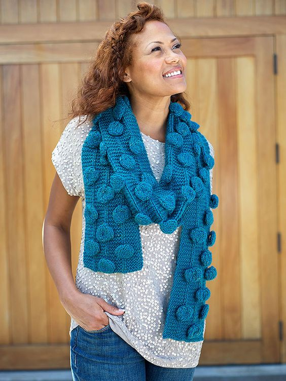 Gerard - scarf with oversized bobbles - free knitting pattern | Berroco