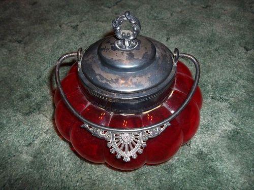 victorian biscuit jar | Vintage Victorian Glass Ruby Red Biscuit Cracker Jar