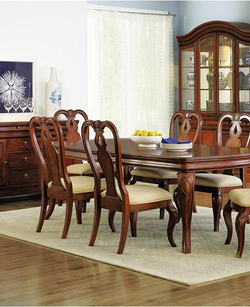Furniture Bordeaux 7 Pc Dining Room Set Created For Macy S Dining Table 6 Queen Anne Side Chairs Reviews Dining Room Sets Dining Room Set Side Chairs