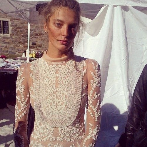 Daria Werbowy :: wedding dress :: bridal :: white :: lace :: sheer :: detail :: floral :: long sleeved ::