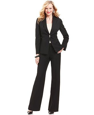 Tahari by ASL Suit, Pinstripe Blazer & Pants - Womens Suits & Suit