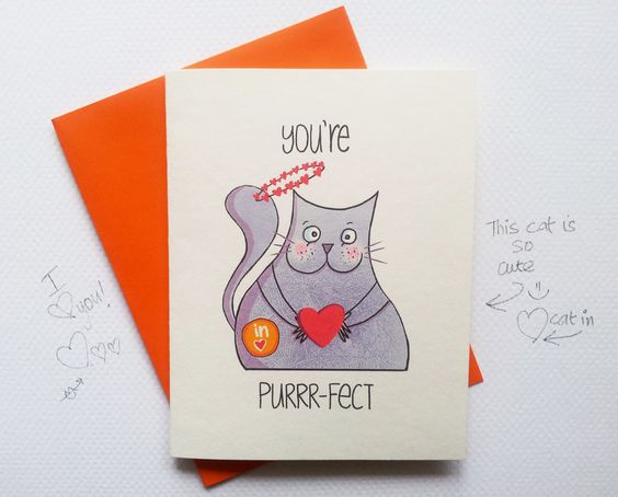 valentines day card with cute cat cute love card valentines card for her for