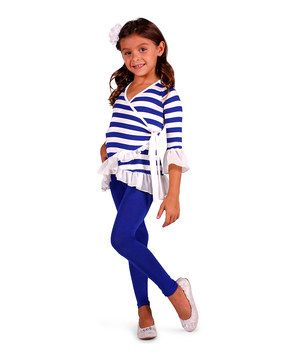 Love this Mia Belle Baby Cobalt Stripe Ruffle Wrap Tunic & Leggings - Toddler & Girls by Mia Belle Baby on #zulily! #zulilyfinds