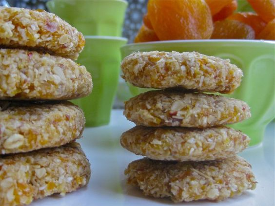 Raw Vegan Gluten Free No Bake Apricot Coconut Oatmeal Cookies