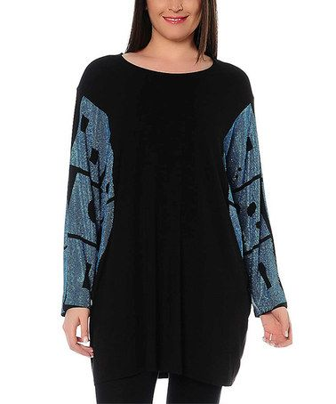 Another great find on #zulily! Black Geometric Sleeve Dolman Tunic - Plus #zulilyfinds