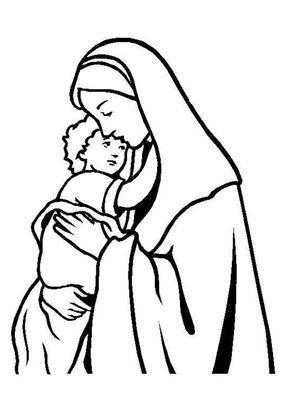 Coloriage Noel Chrétien Mère et Son enfant   Hugolescargot.