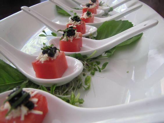 Toque Catering- Victoria BC/Compressed watermelon, feta, balsamic caviar/Vancouver Island Weddings