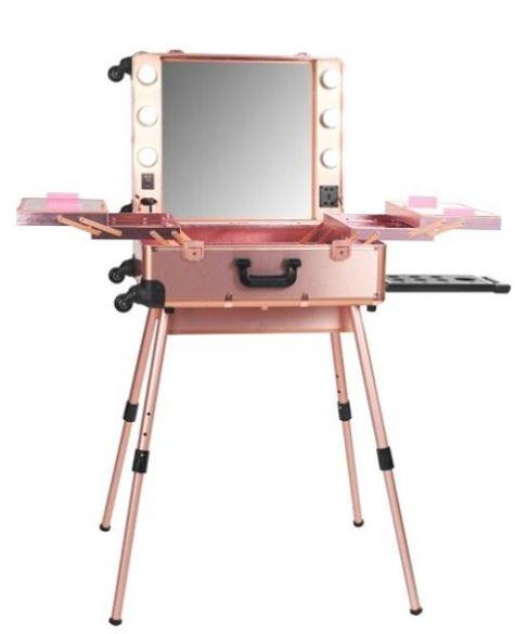 LadyMoss.com   PRO Studio Lighted Makeup Case w/ Legs - Rose Gold