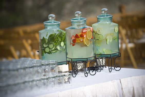 Idea for beverages for tables!!!  Add fruit to water or other clear or light colored (lemonade) drinks for pop of color AND added flavor!!