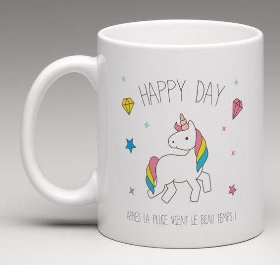 mug licorne happy day cr ation le monde de bibou. Black Bedroom Furniture Sets. Home Design Ideas