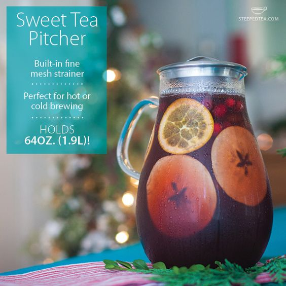 The Sweet Tea Pitcher is perfect for making sangria, cider-infusions and old-fashioned iced tea! The mesh infuser holds the loose leaf tea and fruit so it doesn't come out while pouring. Brilliant! Find it on page three of our Fall/Winter 2014 Catalog. http://www.steepedtea.com/catalogs/