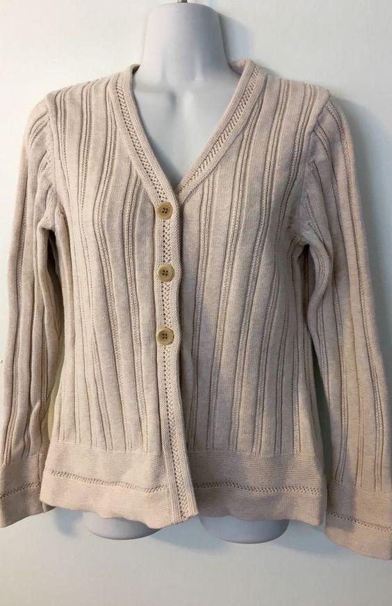 Eddie Bauer Beige Cardigan size L Womens Sweater Cotton 3 Button Ribbed V-Neck #EddieBauer #Cardigan