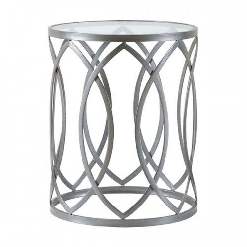 Silver Metal Eyelet Glass Top Accent End Table Metal Accent