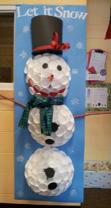Styrofoam cup snowman bulletin boards pinterest for Cup snowman