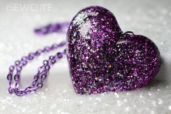 Purple Glittery Big Heart Hand Cast Resin Pendant by isewcute, $20.00