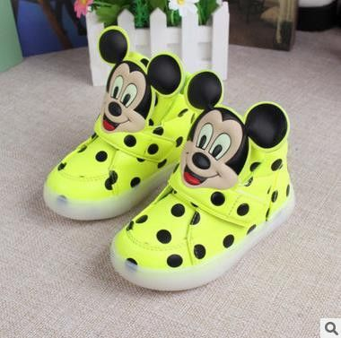 Tiny Baby Shoes | Mikey Mouse Lime LED High Tops