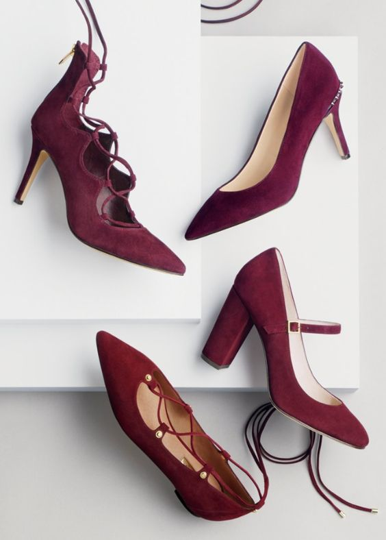 lovely styles of wine-hued suede shoes