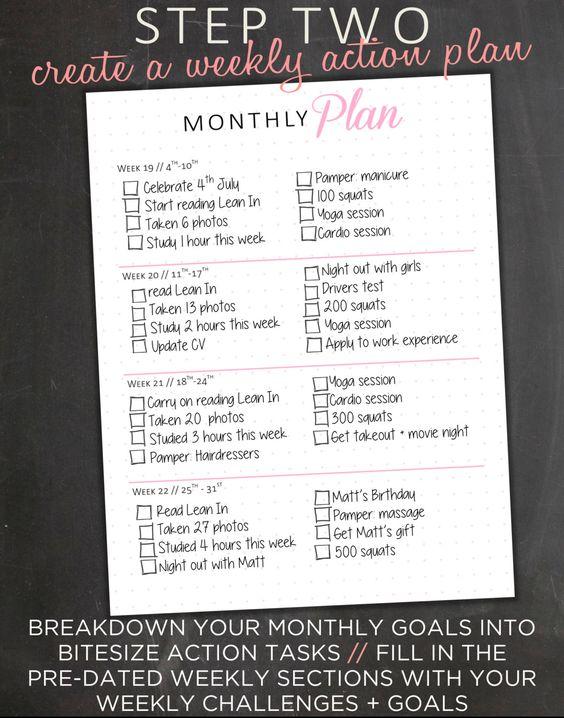 Monthly Goal Planner Goal Tracker Weekly Goal by EasyPeasyPaper