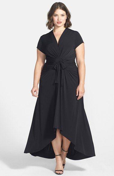 Plus size high low black dresses