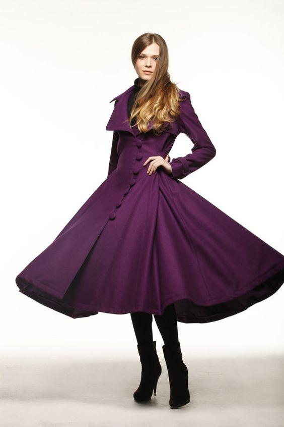Purple Dress Coat Big Sweep Women Wool Winter Coat Long Jacket ...