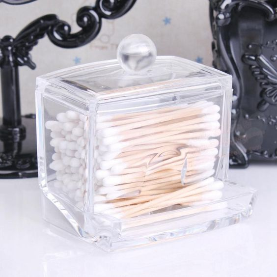 Superior Storage Box Clear Acrylic Q Tip Holder Box Cotton Swabs Stick Storage  Cosmetic Makeup