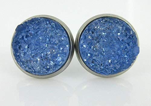 Resin Circle Stud earrings stainless steel Copper Glitter Earrings Sparkly 14mm
