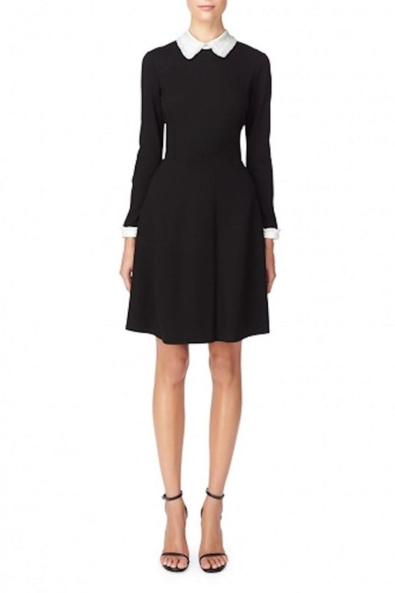 Black long sleeve luxe ponte dress with ivory jacquard collar and cuffs. Style with black open toe strappy sandals. Tate Collar Dress by Erin Fetherston. Clothing - Dresses - Work Clothing - Dresses - Knee Clothing - Dresses - Long Sleeve Toronto, Canada