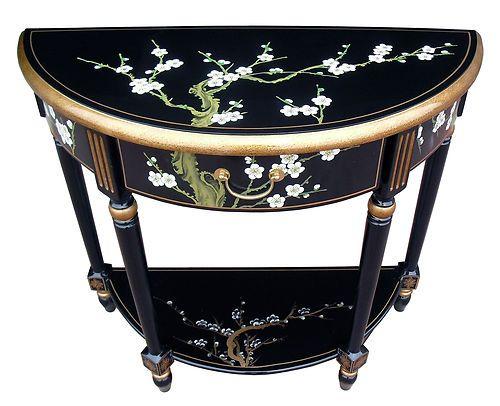 orientalchinese furniture blossom half moon table black lacquer black laquer furniture