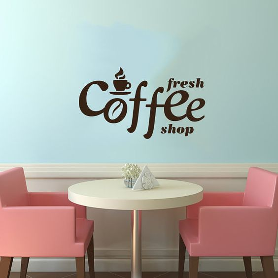 cup of coffee smoke stamp logo wall vinyl decal art murals design interior modern cafe dining