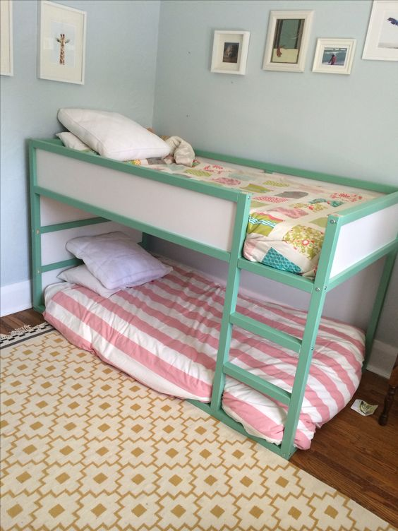 Shared room for girls. Ikea Kura bunk bed hack painted Farrow & Ball - Arsenic.