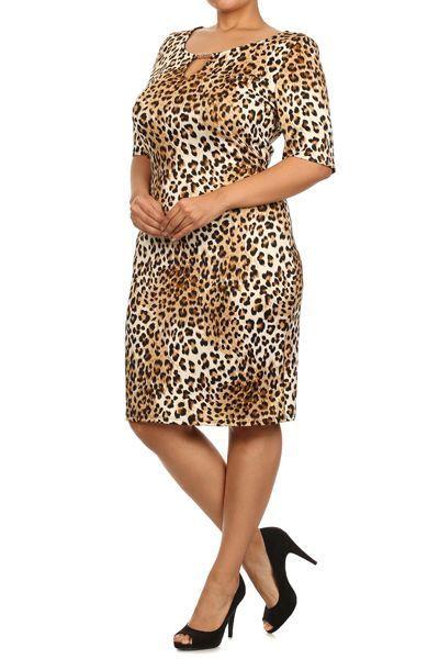 Cheetah print,Scoop Neck, Midi Dress with 3/4 sleeves  #1X2X3X #Midi #WeartoWork
