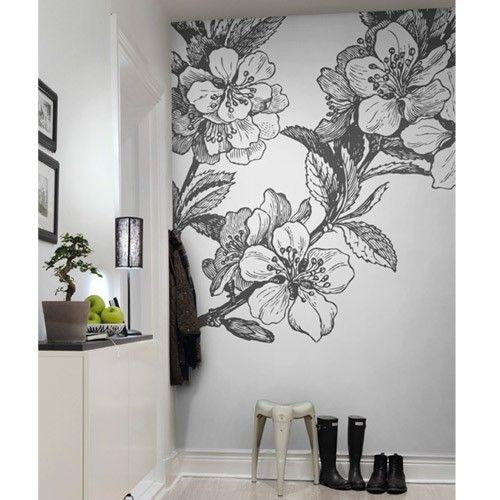 Rebel Walls Springtime Mural Black White Bedroom