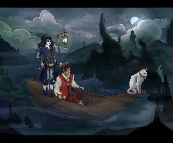 """""""Harlekin ellökte a parttól a csónakot, beleugrott, és megmarkolta az evezőket. Mogget kiszökkent Sabriel karjából, és letelepedett az orrban, mint egy szobor. Egyszerre szolgált éjszakai őrszemként és gúnyolta Harlekint. A parton, a falu kikötőjében hirtelen felüvöltött a mordicant. Hosszú, metsző kiáltása messzire hangzott a vízen, megdermesztve a csónakban és a szigeten lévők szívét. """" (Sophalone képe)"""