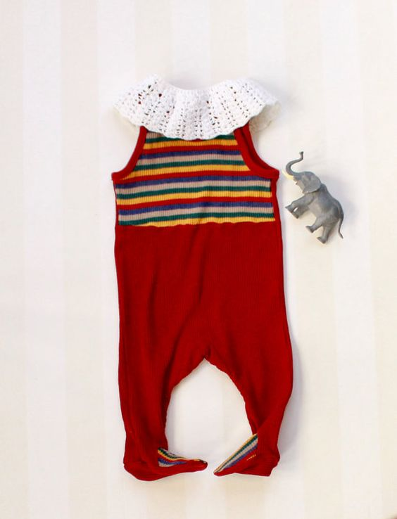 Red Baby Romper in Rib Knit Fabric from the 70s by ElleBelleVin
