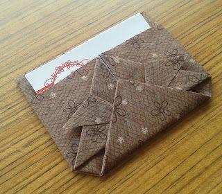 d'incanto: porta cartões de visita, feito em tecido com a técnica do origami!...