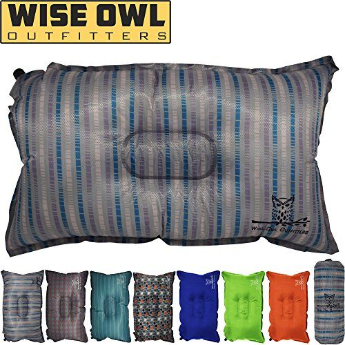 Wise Owl Outfitters Camping Pillow Lightweight Self Inflating Inflatable Foam Air Compact Camp Pillow Bes Camping Pillows Inflatable Pillow Camping Trips