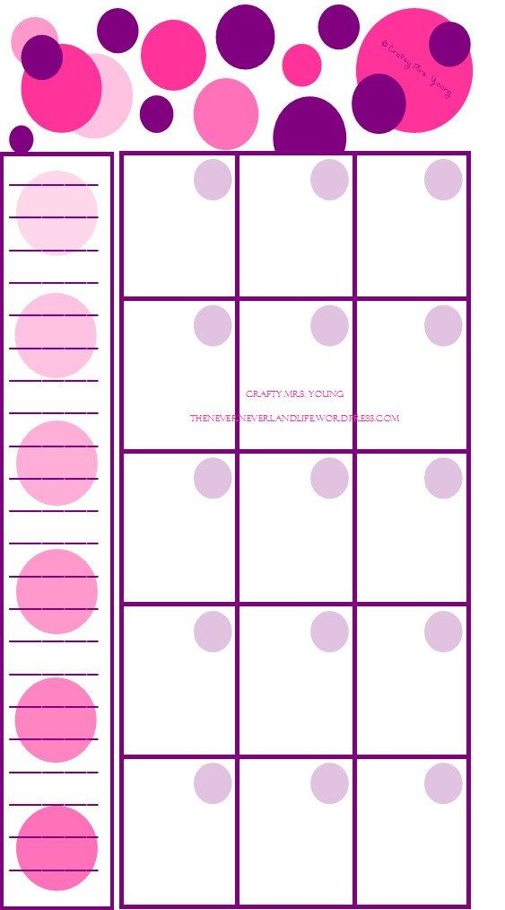 Printable Blank Pink  Purple Polka Dot Personal Filofax Monthly