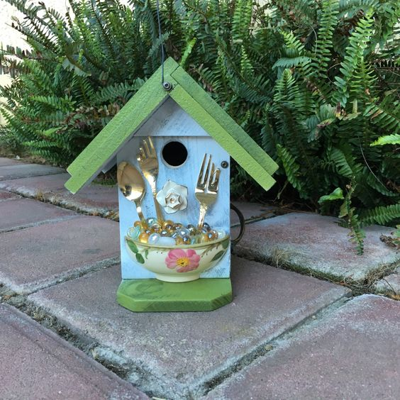 Birdhouse, Ceramic Floral Bowl, Inspired Farmhouse Bird House Functional For Bird's Nest Box, Unique Birdhouses, Item #465308610 by BirdhousesByMichele on Etsy