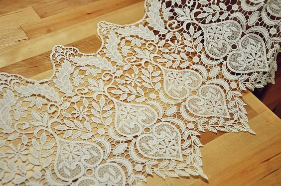 Hollowed out lace fabric trim Vintage lace fabric for by Laceshine